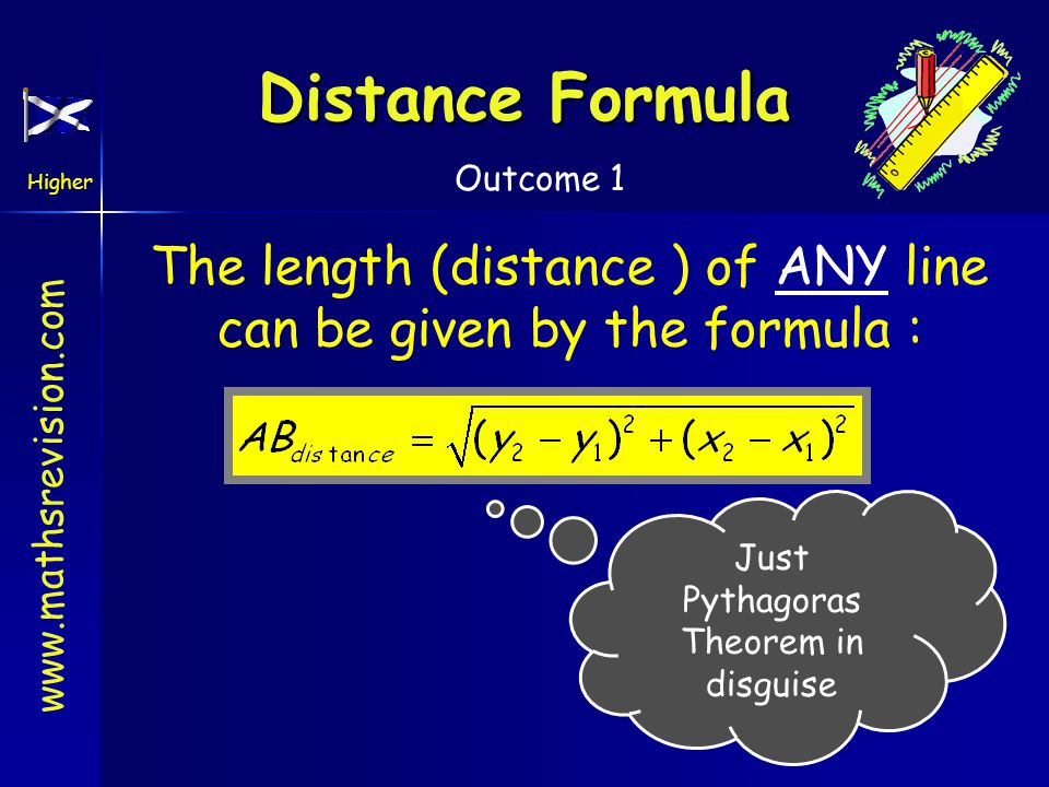 Higher Outcome 1 Distance Formula The length (distance ) of ANY line can be given by the formula : Just Pythagoras Theorem in disguise