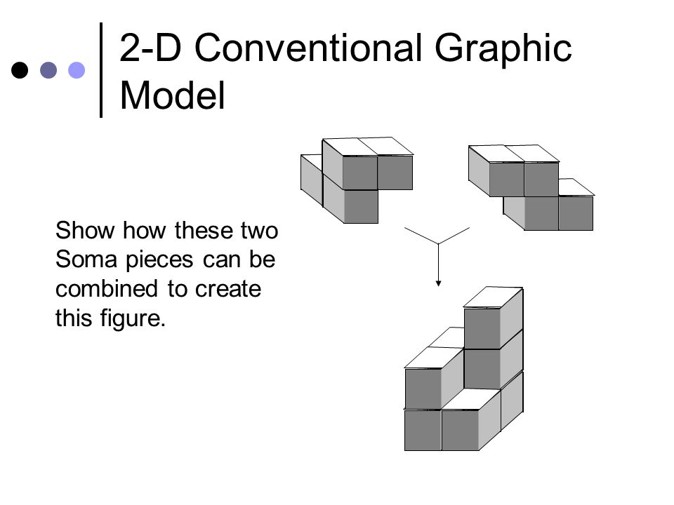 2-D Conventional Graphic Model Show how these two Soma pieces can be combined to create this figure.