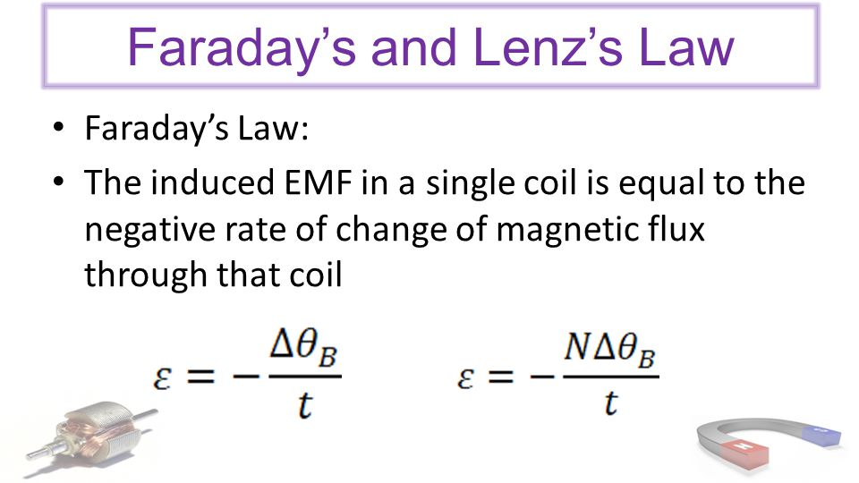 Faraday's and Lenz's Law Faraday's Law: The induced EMF in a single coil is equal to the negative rate of change of magnetic flux through that coil