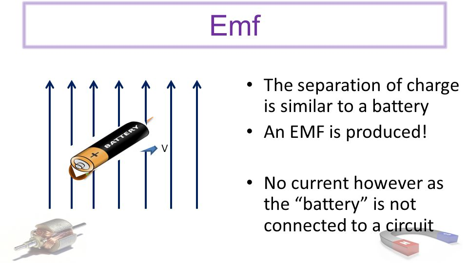 Emf The separation of charge is similar to a battery An EMF is produced.
