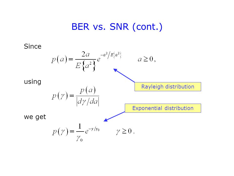 BER vs. SNR (cont.) Since using we get Rayleigh distribution Exponential distribution