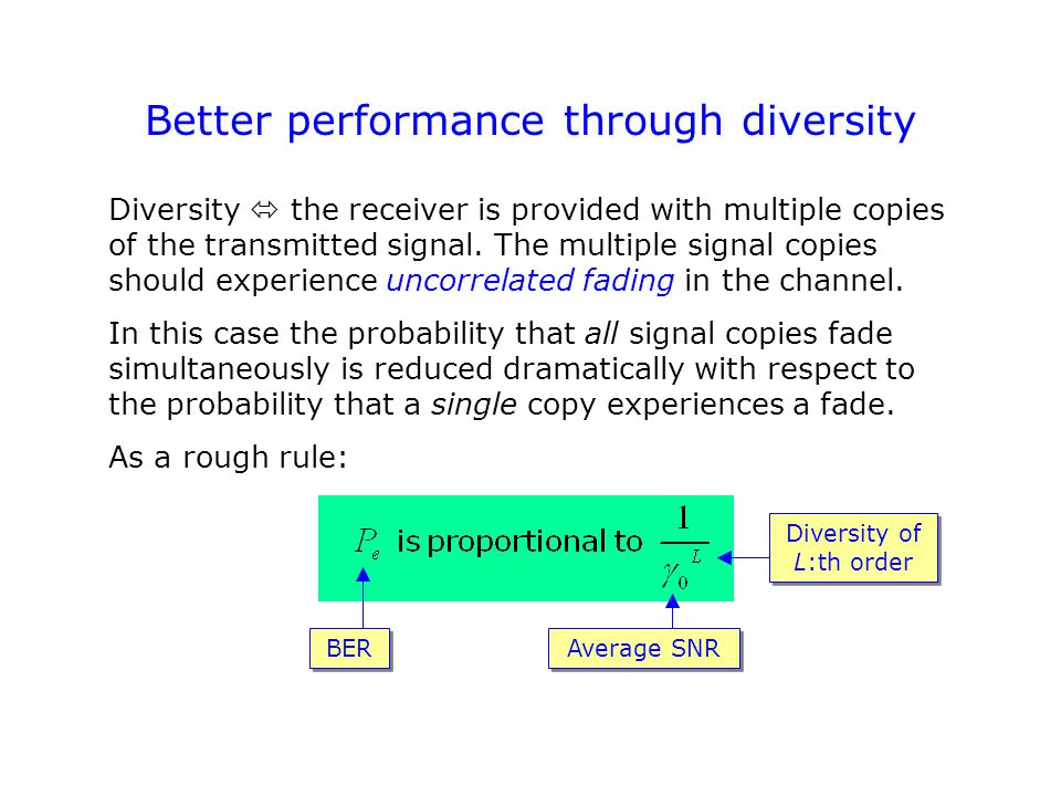 Better performance through diversity Diversity  the receiver is provided with multiple copies of the transmitted signal.