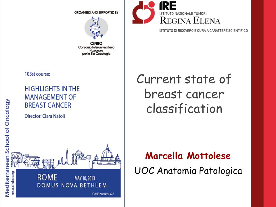 Current state of breast cancer classification Marcella Mottolese UOC ...