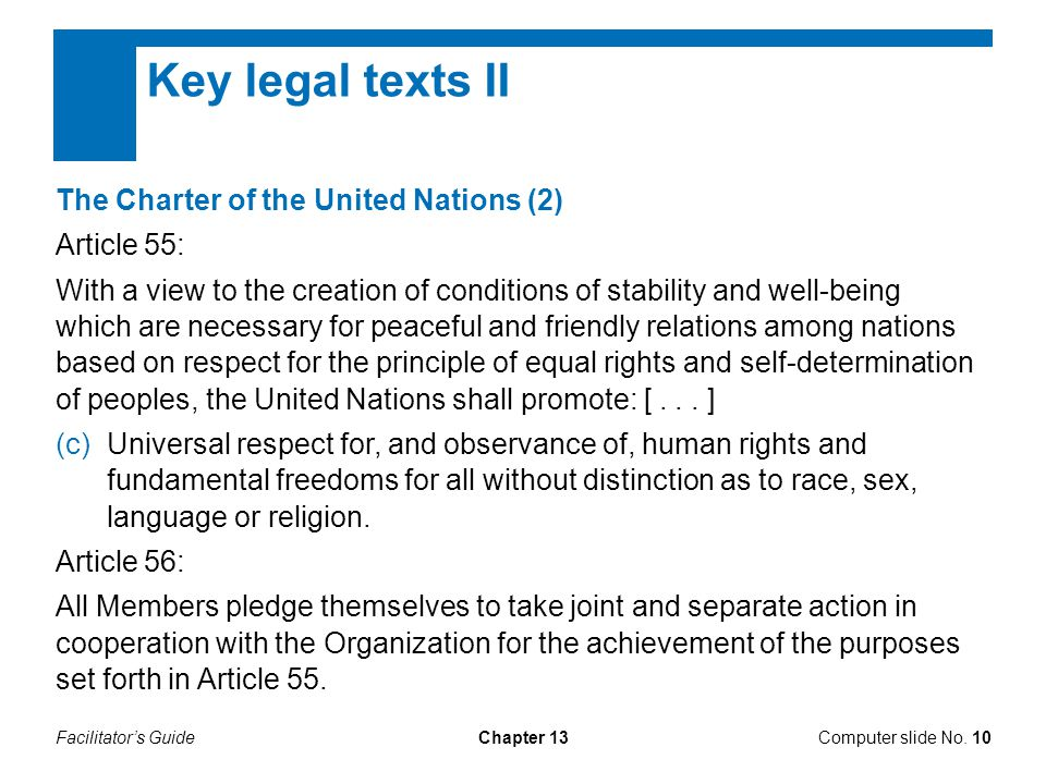 Facilitator's GuideChapter 13 Key legal texts II Computer slide No.