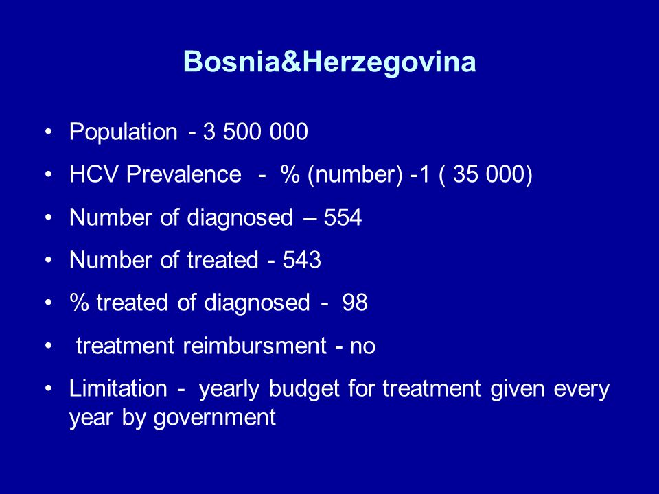 Bosnia&Herzegovina Population HCV Prevalence - % (number) -1 ( ) Number of diagnosed – 554 Number of treated % treated of diagnosed - 98 treatment reimbursment - no Limitation - yearly budget for treatment given every year by government