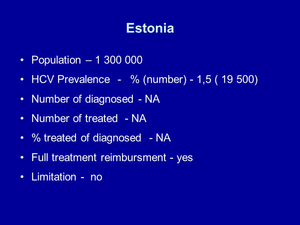 Estonia Population – HCV Prevalence - % (number) - 1,5 ( ) Number of diagnosed - NA Number of treated - NA % treated of diagnosed - NA Full treatment reimbursment - yes Limitation - no