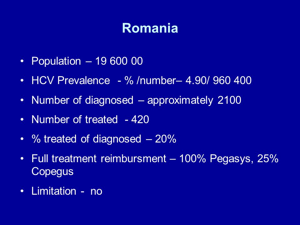 Romania Population – HCV Prevalence - % /number– 4.90/ Number of diagnosed – approximately 2100 Number of treated % treated of diagnosed – 20% Full treatment reimbursment – 100% Pegasys, 25% Copegus Limitation - no