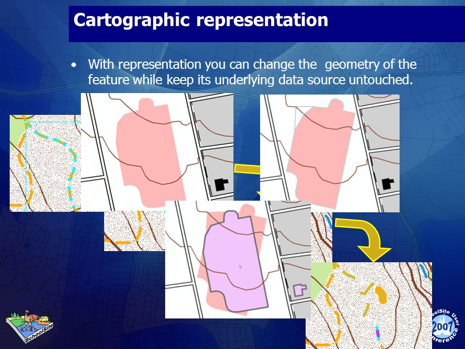 Cartographic representation With representation you can change the geometry of the feature while keep its underlying data source untouched.
