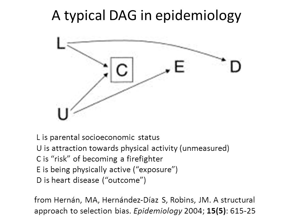 a typical dag in epidemiology from hern�n, ma, hern�ndez-d�az s, robins