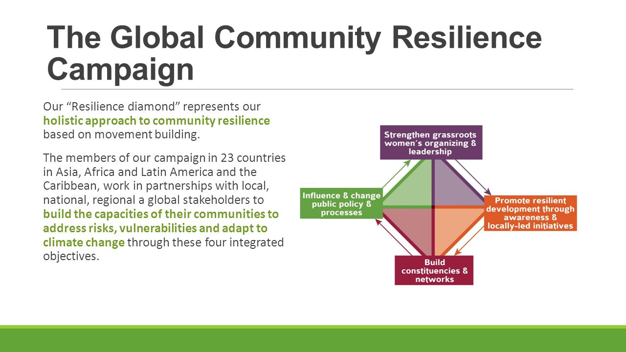 The Global Community Resilience Campaign Our Resilience diamond represents our holistic approach to community resilience based on movement building.