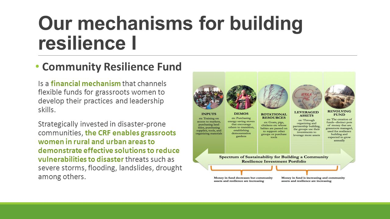 Our mechanisms for building resilience I Community Resilience Fund Is a financial mechanism that channels flexible funds for grassroots women to develop their practices and leadership skills.
