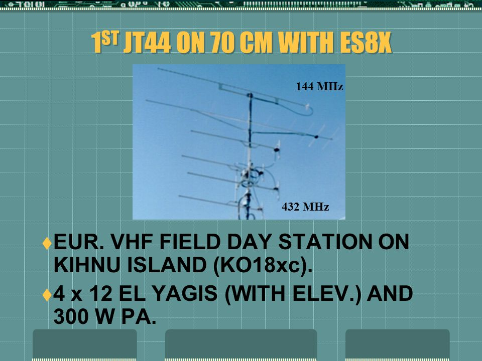 1 ST JT44 ON 70 CM WITH ES8X  EUR. VHF FIELD DAY STATION ON KIHNU ISLAND (KO18xc).