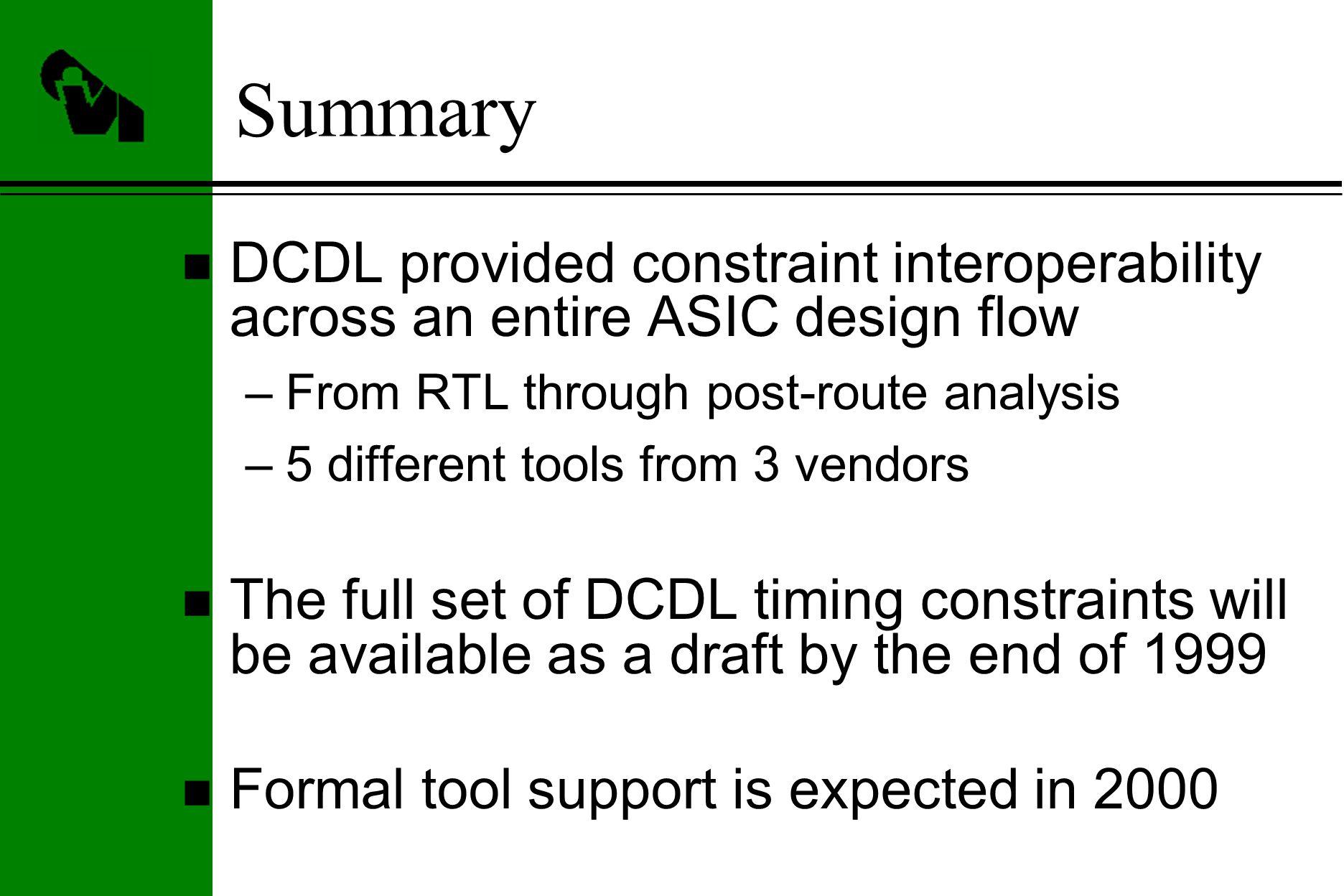 Dcdl The Design Constraints Description Language An Emerging Ovi Vlsi Flow 26 Summary N Provided Constraint Interoperability Across Entire Asic