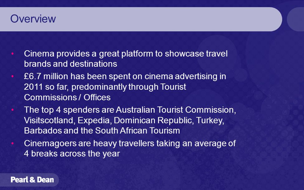 Pearl & Dean Cinema & Travel  Overview Cinema provides a great