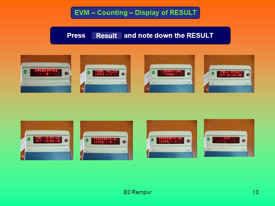 EVM – Counting – Display of RESULT Press and note down the RESULT Result 13E0 Rampur