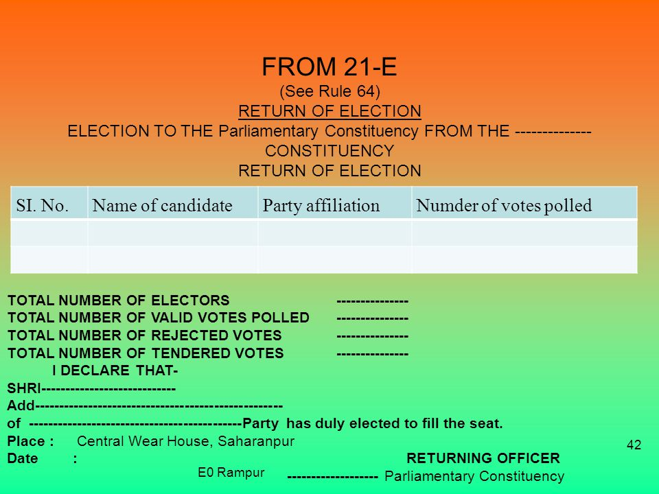 FROM 21-E (See Rule 64) RETURN OF ELECTION ELECTION TO THE Parliamentary Constituency FROM THE CONSTITUENCY RETURN OF ELECTION SI.