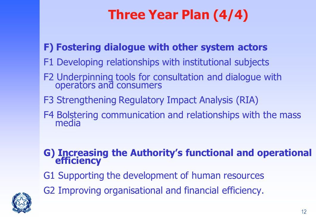 12 F) Fostering dialogue with other system actors F1 Developing relationships with institutional subjects F2 Underpinning tools for consultation and dialogue with operators and consumers F3 Strengthening Regulatory Impact Analysis (RIA) F4 Bolstering communication and relationships with the mass media G) Increasing the Authority's functional and operational efficiency G1 Supporting the development of human resources G2 Improving organisational and financial efficiency.
