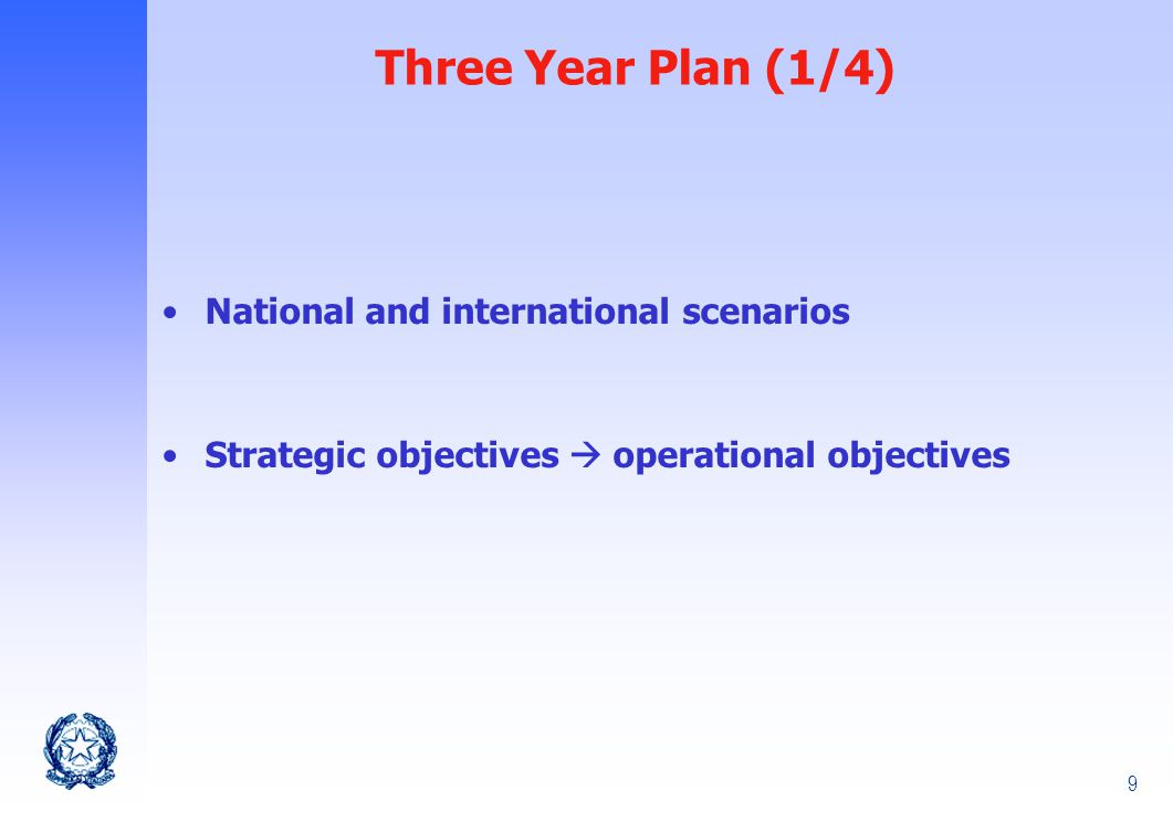 9 Three Year Plan (1/4) National and international scenarios Strategic objectives  operational objectives
