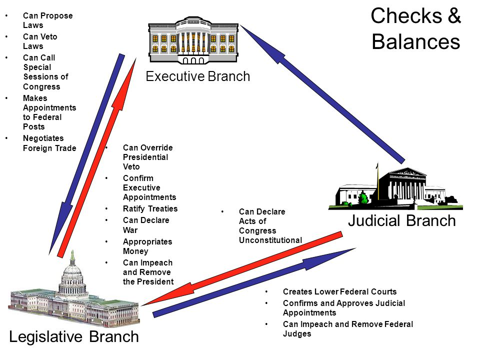 Executive Branch Judicial Branch Legislative Branch Can Propose Laws Can Veto Laws Can Call Special Sessions of Congress Makes Appointments to Federal Posts Negotiates Foreign Trade Can Override Presidential Veto Confirm Executive Appointments Ratify Treaties Can Declare War Appropriates Money Can Impeach and Remove the President Creates Lower Federal Courts Confirms and Approves Judicial Appointments Can Impeach and Remove Federal Judges Can Declare Acts of Congress Unconstitutional Checks & Balances