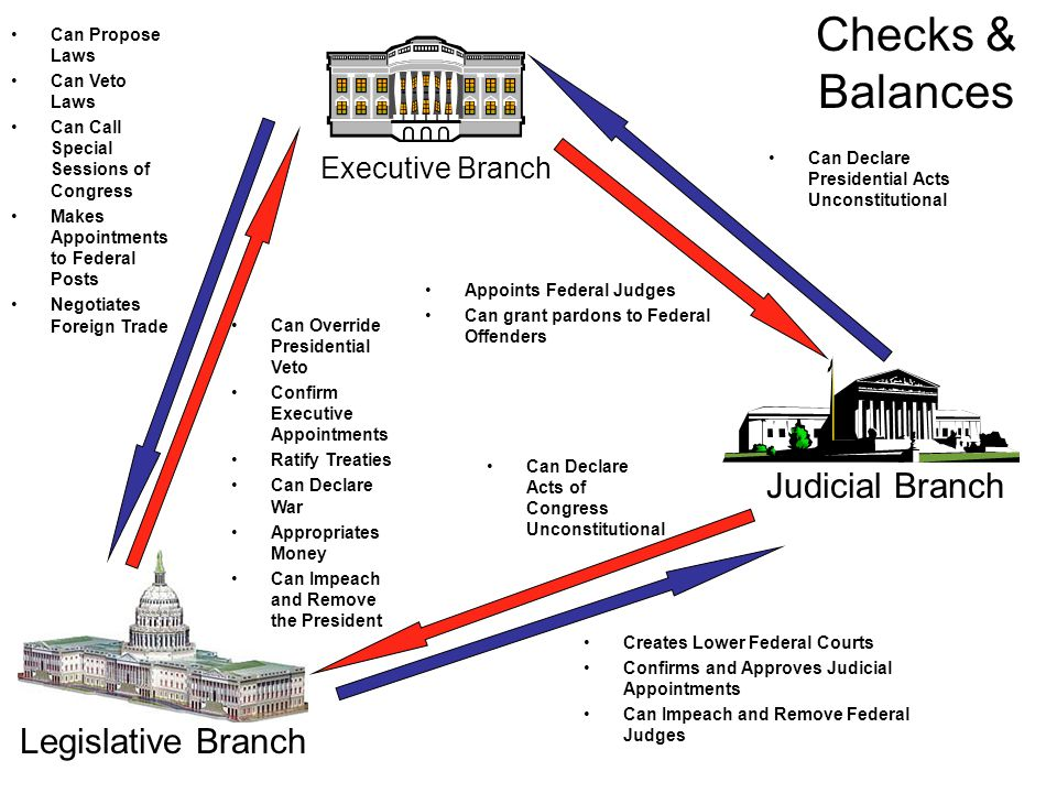 Executive Branch Judicial Branch Legislative Branch Can Declare Presidential Acts Unconstitutional Can Propose Laws Can Veto Laws Can Call Special Sessions of Congress Makes Appointments to Federal Posts Negotiates Foreign Trade Can Override Presidential Veto Confirm Executive Appointments Ratify Treaties Can Declare War Appropriates Money Can Impeach and Remove the President Creates Lower Federal Courts Confirms and Approves Judicial Appointments Can Impeach and Remove Federal Judges Can Declare Acts of Congress Unconstitutional Checks & Balances Appoints Federal Judges Can grant pardons to Federal Offenders
