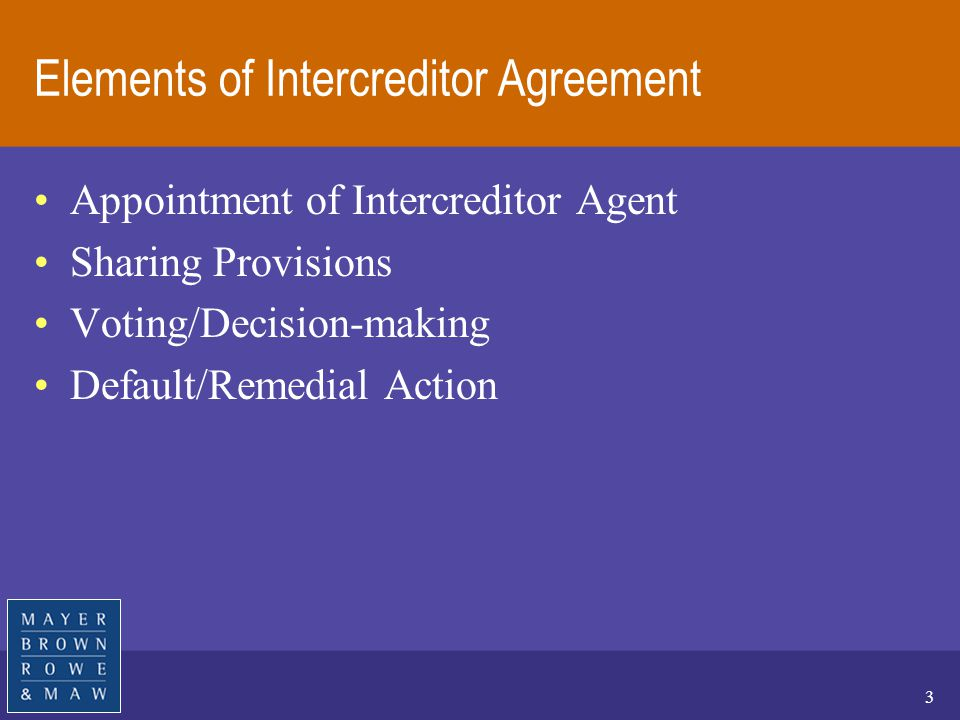 Major Intercreditor Issues In Multi Tranche Project Financing