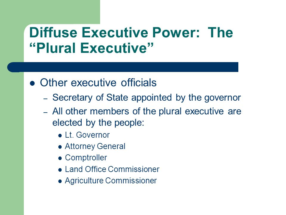 diffuse executive power the plural executive other executive officials secretary of state appointed by