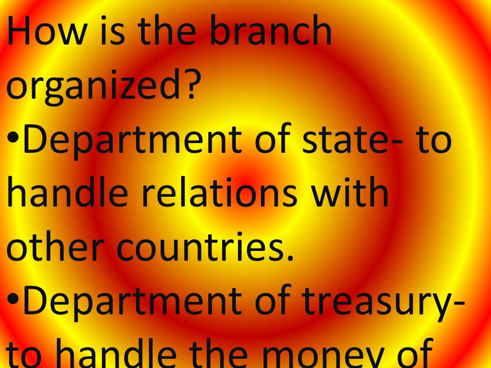 How is the branch organized. Department of state- to handle relations with other countries.