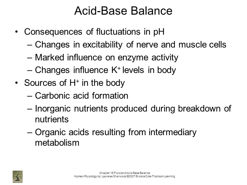 Chapter 15 Fluid and Acid-Base Balance Human Physiology by Lauralee Sherwood ©2007 Brooks/Cole-Thomson Learning Acid-Base Balance Consequences of fluctuations in pH –Changes in excitability of nerve and muscle cells –Marked influence on enzyme activity –Changes influence K + levels in body Sources of H + in the body –Carbonic acid formation –Inorganic nutrients produced during breakdown of nutrients –Organic acids resulting from intermediary metabolism