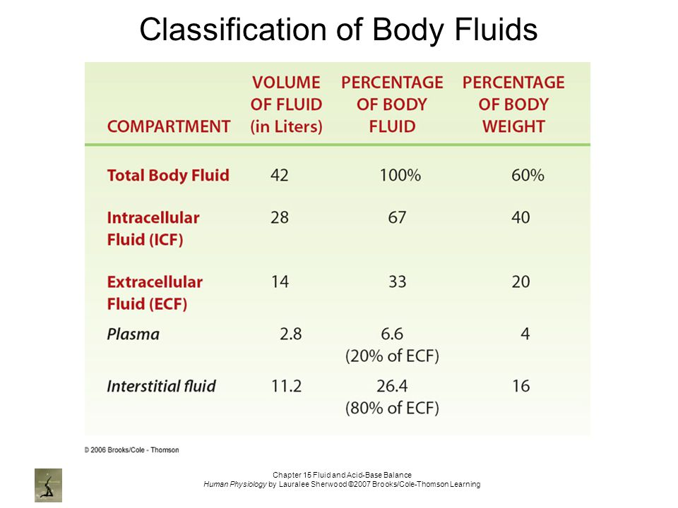 Chapter 15 Fluid and Acid-Base Balance Human Physiology by Lauralee Sherwood ©2007 Brooks/Cole-Thomson Learning Classification of Body Fluids
