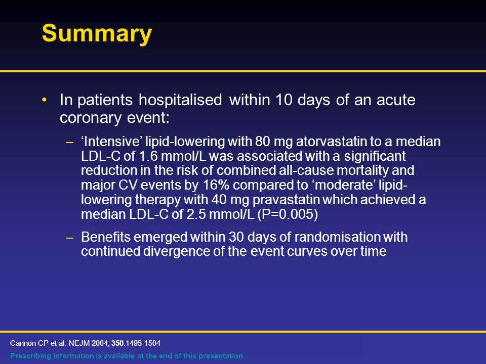 Prescribing Information is available at the end of this presentation Summary In patients hospitalised within 10 days of an acute coronary event: –'Intensive' lipid-lowering with 80 mg atorvastatin to a median LDL-C of 1.6 mmol/L was associated with a significant reduction in the risk of combined all-cause mortality and major CV events by 16% compared to 'moderate' lipid- lowering therapy with 40 mg pravastatin which achieved a median LDL-C of 2.5 mmol/L (P=0.005) –Benefits emerged within 30 days of randomisation with continued divergence of the event curves over time Cannon CP et al.