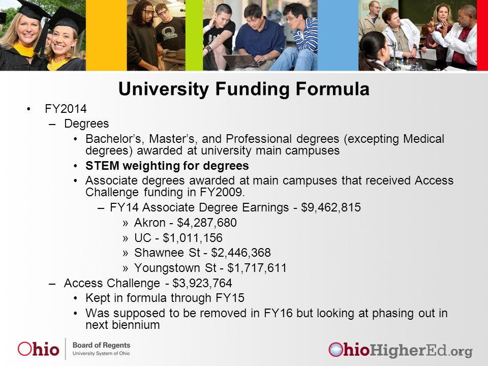 University Funding Formula FY2014 –Degrees Bachelor's, Master's, and Professional degrees (excepting Medical degrees) awarded at university main campuses STEM weighting for degrees Associate degrees awarded at main campuses that received Access Challenge funding in FY2009.