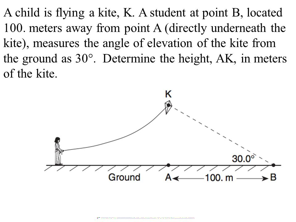 A child is flying a kite, K. A student at point B, located 100.