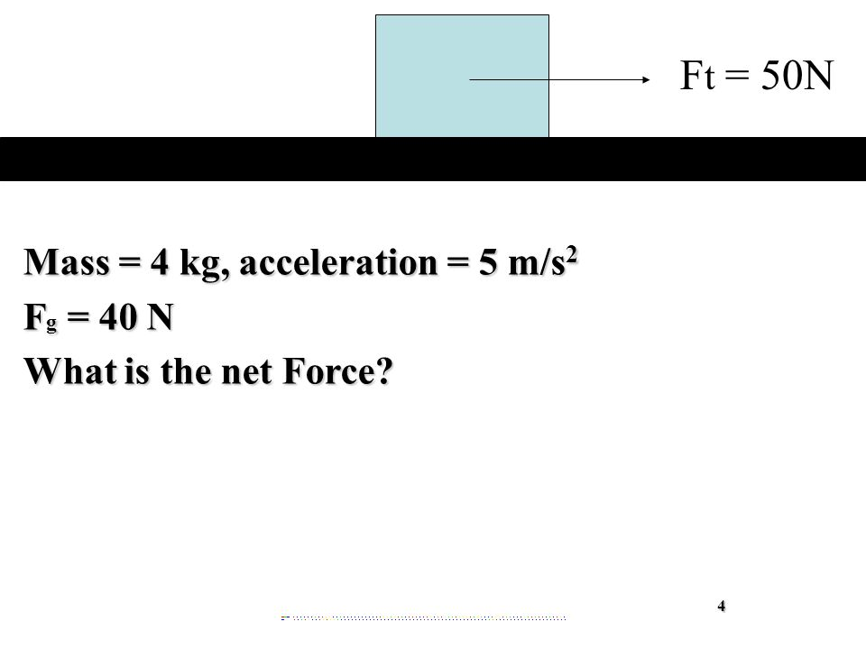 Mass = 4 kg, acceleration = 5 m/s 2 F g = 40 N What is the net Force 4 F t = 50N