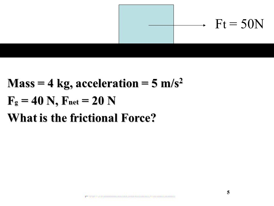 Mass = 4 kg, acceleration = 5 m/s 2 F g = 40 N, F net = 20 N What is the frictional Force.