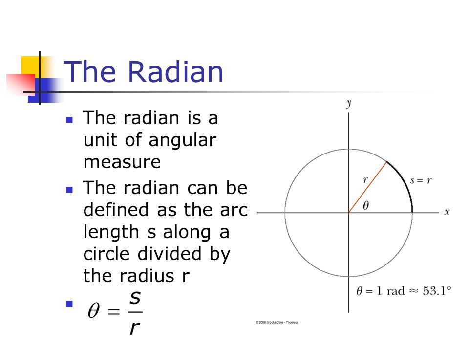The Radian The radian is a unit of angular measure The radian can be defined as the arc length s along a circle divided by the radius r