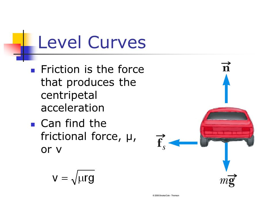 Level Curves Friction is the force that produces the centripetal acceleration Can find the frictional force, µ, or v
