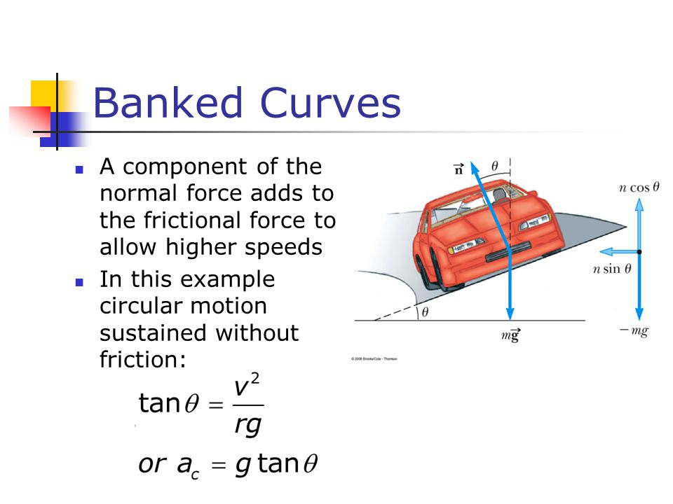 Banked Curves A component of the normal force adds to the frictional force to allow higher speeds In this example circular motion sustained without friction: