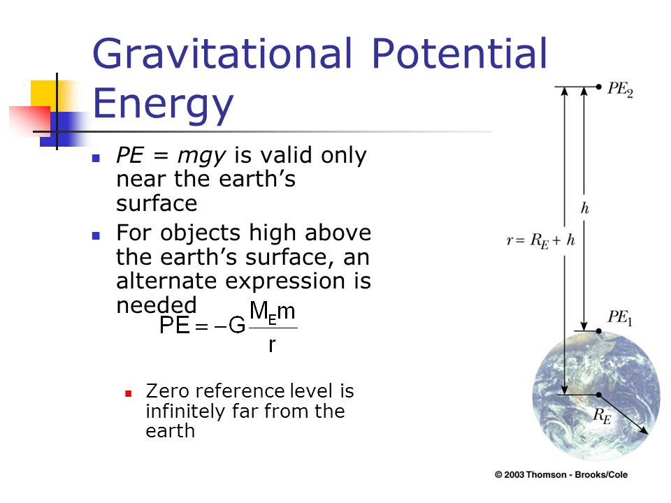 Gravitational Potential Energy PE = mgy is valid only near the earth's surface For objects high above the earth's surface, an alternate expression is needed Zero reference level is infinitely far from the earth