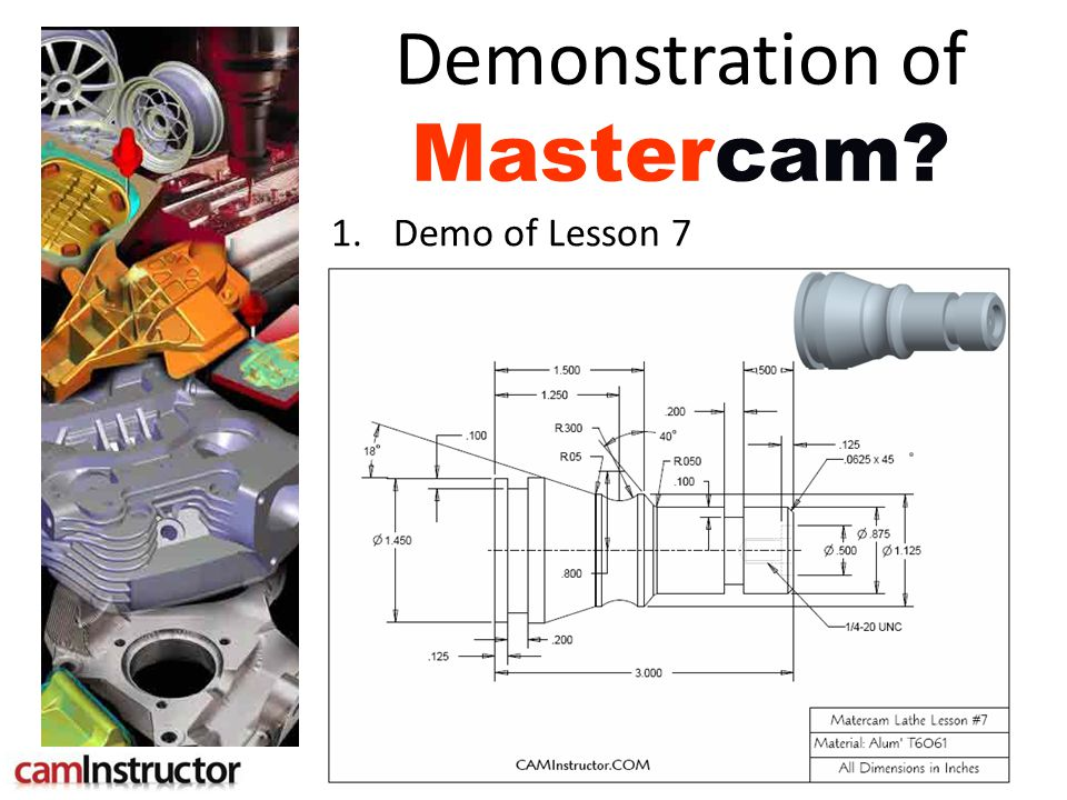 Welcome Lesson 7 – Part 1 Computer Aided Manufacturing cam Using
