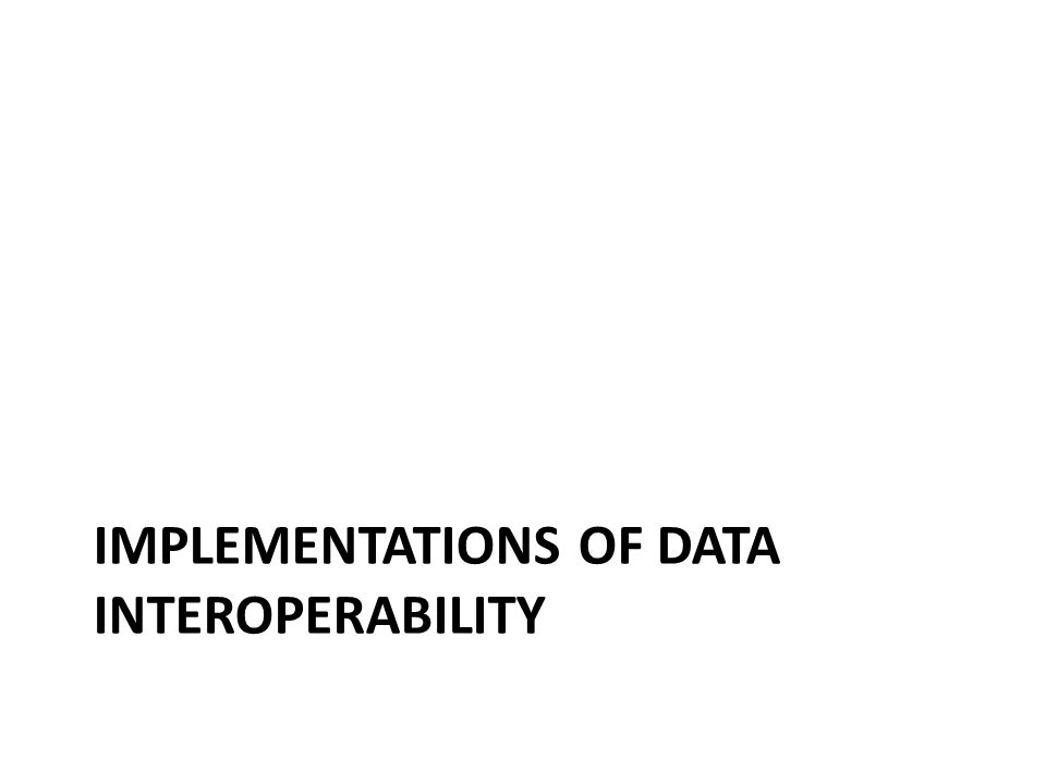 IMPLEMENTATIONS OF DATA INTEROPERABILITY