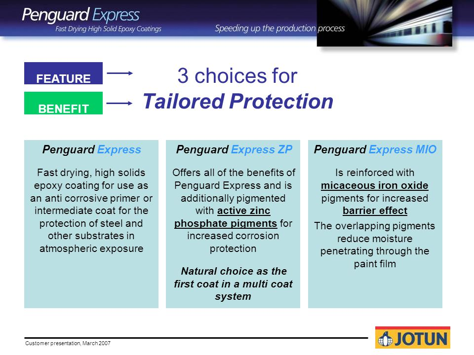 Customer presentation, March choices for Tailored Protection Penguard Express Fast drying, high solids epoxy coating for use as an anti corrosive primer or intermediate coat for the protection of steel and other substrates in atmospheric exposure Penguard Express ZP Offers all of the benefits of Penguard Express and is additionally pigmented with active zinc phosphate pigments for increased corrosion protection Natural choice as the first coat in a multi coat system Penguard Express MIO Is reinforced with micaceous iron oxide pigments for increased barrier effect The overlapping pigments reduce moisture penetrating through the paint film FEATURE BENEFIT