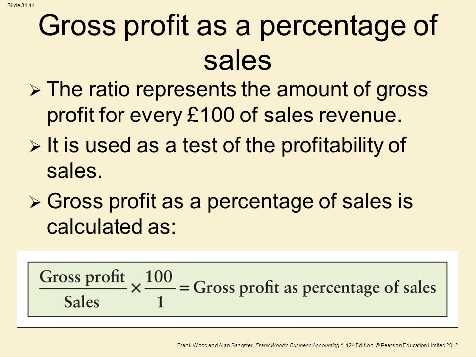 Frank Wood and Alan Sangster, Frank Wood's Business Accounting 1, 12 th Edition, © Pearson Education Limited 2012 Slide Gross profit as a percentage of sales  The ratio represents the amount of gross profit for every £100 of sales revenue.