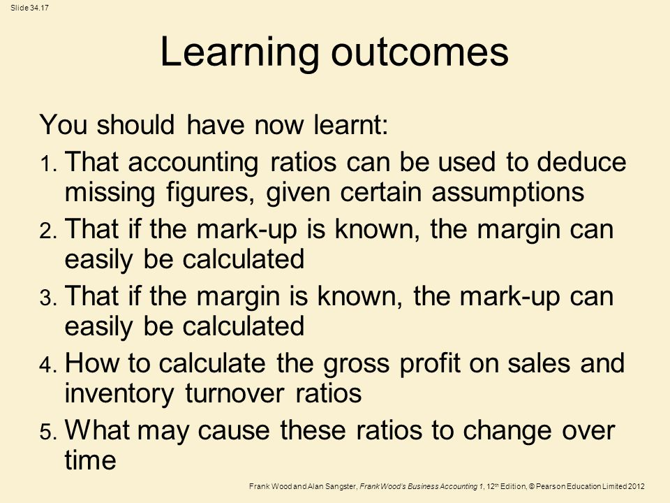 Frank Wood and Alan Sangster, Frank Wood's Business Accounting 1, 12 th Edition, © Pearson Education Limited 2012 Slide Learning outcomes You should have now learnt: 1.