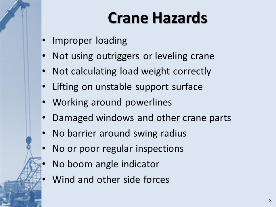 1 Cranes Module 13  2Objectives After this module you should