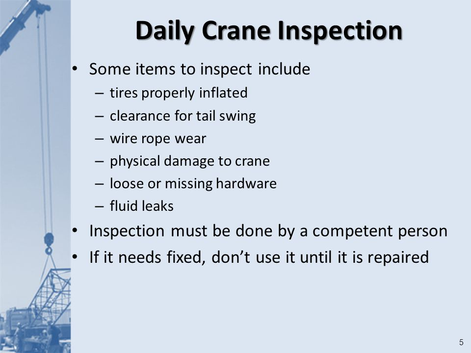 1 Cranes Module 13. 2Objectives After this module you should be able ...