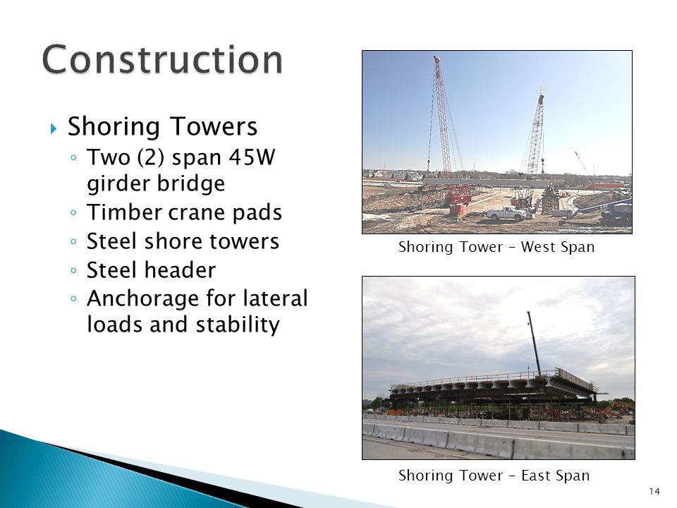  Shoring Towers ◦ Two (2) span 45W girder bridge ◦ Timber crane pads ◦ Steel shore towers ◦ Steel header ◦ Anchorage for lateral loads and stability 14 Shoring Tower – West Span Shoring Tower – East Span