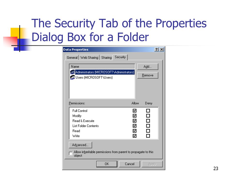 23 The Security Tab of the Properties Dialog Box for a Folder