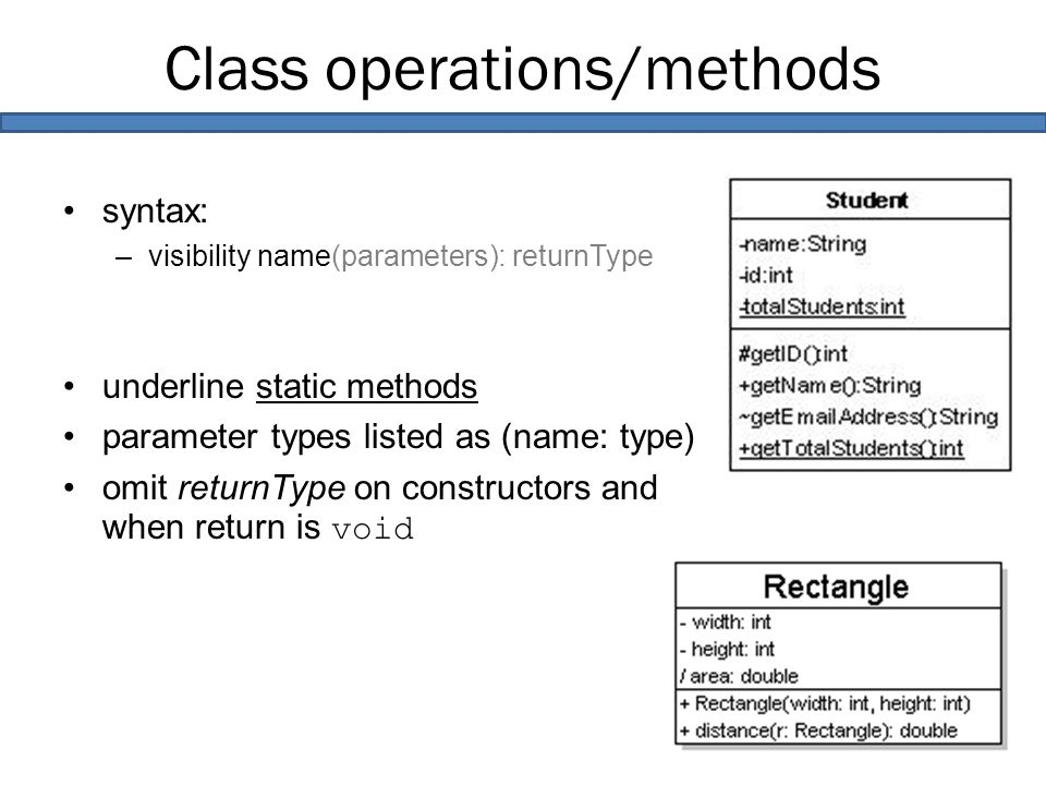 Class operations/methods syntax: –visibility name(parameters): returnType underline static methods parameter types listed as (name: type) omit returnType on constructors and when return is void