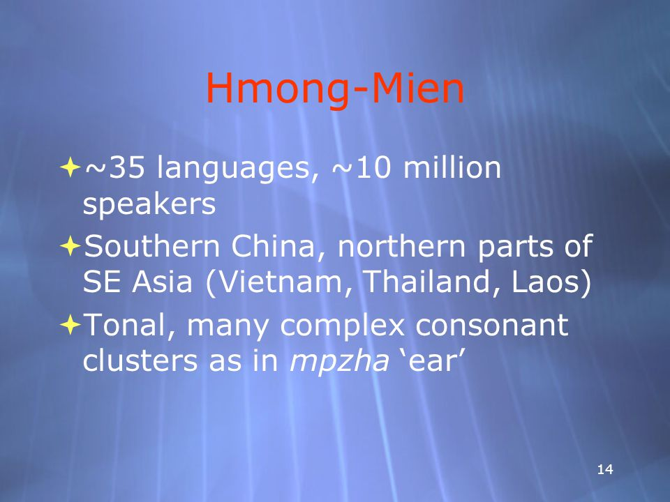 14 Hmong-Mien  ~35 languages, ~10 million speakers  Southern China, northern parts of SE Asia (Vietnam, Thailand, Laos)  Tonal, many complex consonant clusters as in mpzha 'ear'  ~35 languages, ~10 million speakers  Southern China, northern parts of SE Asia (Vietnam, Thailand, Laos)  Tonal, many complex consonant clusters as in mpzha 'ear'