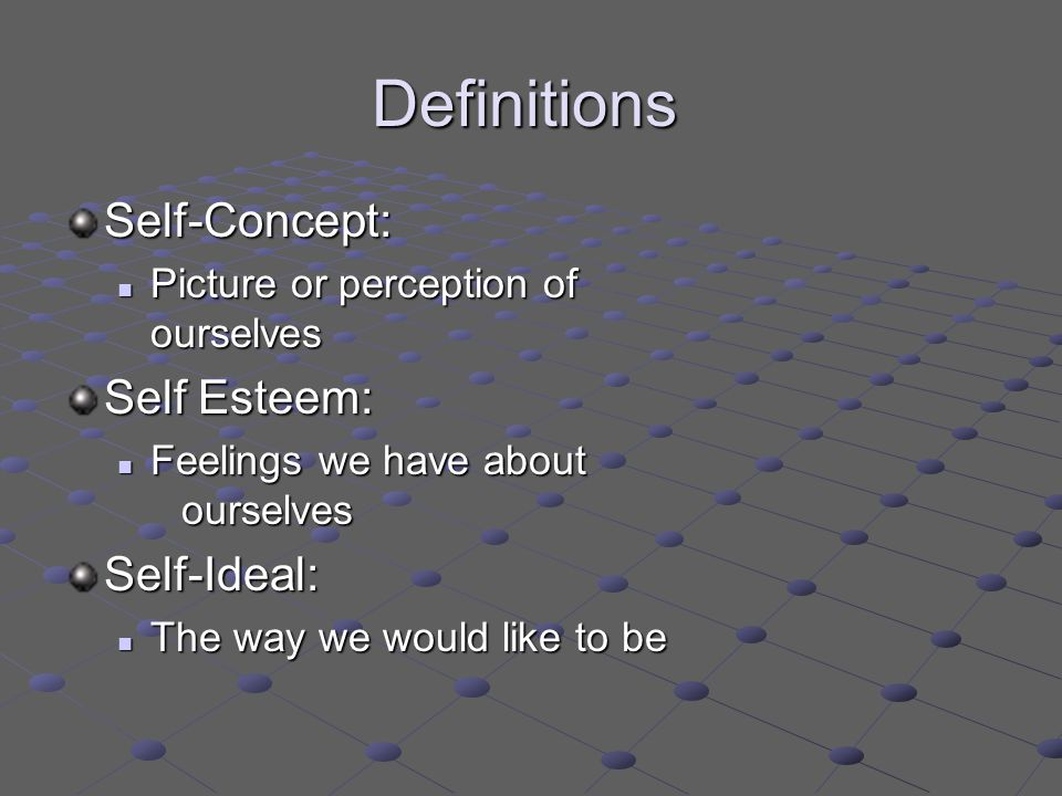 Definitions Self-Concept: Picture or perception of ourselves Picture or perception of ourselves Self Esteem: Feelings we have about ourselves Feelings we have about ourselvesSelf-Ideal: The way we would like to be The way we would like to be